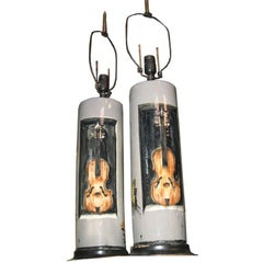 Willhem Ward Beecher Hand-Painted Pair of Pottery Lamps