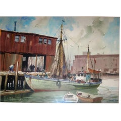 Gordon Grant Watercolor Painting of Harbor Scene