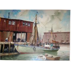 Gordon Grant Watercolor Painting of Harbor Scene