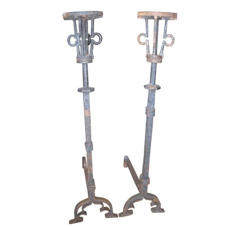 """50"""" Pair of Hand-Forged Iron Andirons For Sale"""