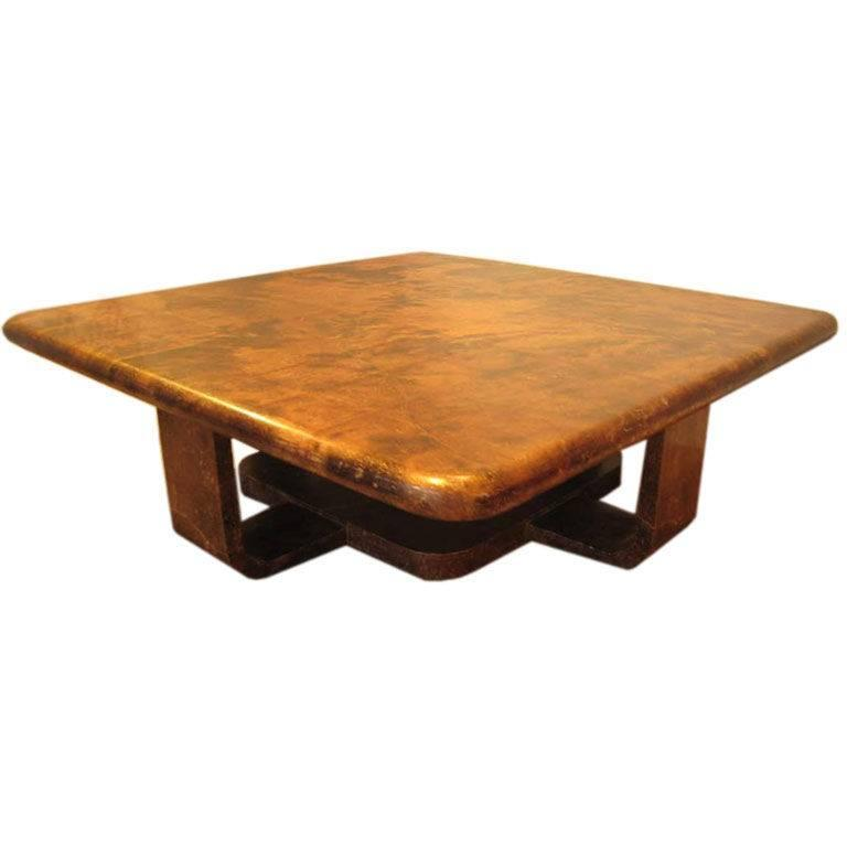 Mid century modern goatskin lg square coffee table at 1stdibs for Mid century modern furniture palm springs