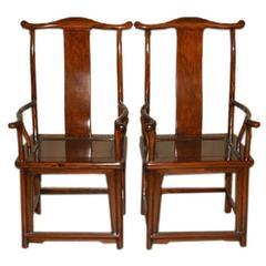 Pair of Elegant Ju Mu Wood Armchairs