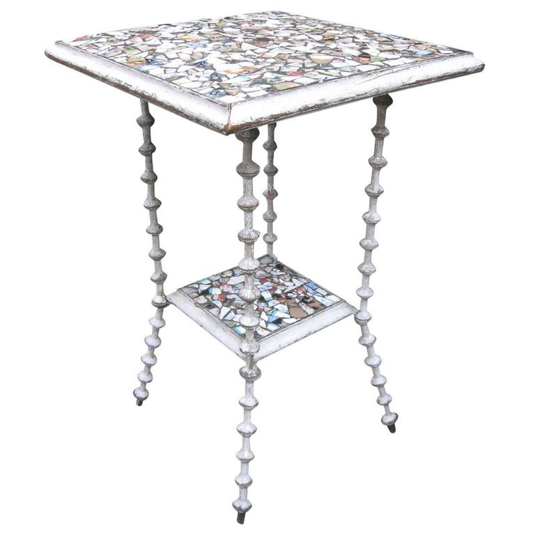 Tramp Art 19th Century American Mosaic Spool Table