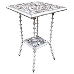 Tramp Art 19th Century American Mosaic Spool Table
