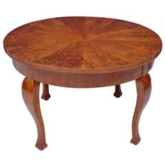 "47"" French Art Deco Round Dining or Center Table with Figured Walnut Top"