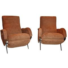 Pair of Italian 1960s Reclining Armchairs