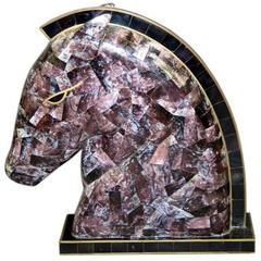 Deco Inlayed Stone Horse Sculpture