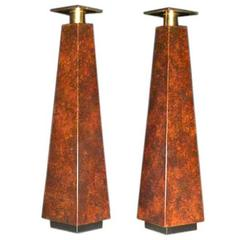Pair of Mid-Century Burl Wood Candle Holders