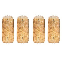 Mid-Century Modern Set of 4 Amber Glass Sconces by Carl Fagerlund for Orrefors