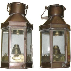 Pair of Brass Oil Lanterns Made into Wall Sconces