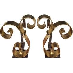 Pair of Brass Midcentury Andirons Attributed to Raymond Subes