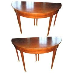 Pair of Early 19th Century Demilune Mahogony Tables, Dining Table