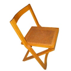 Mid-Century Italian Set of Four Caned Folding Chairs