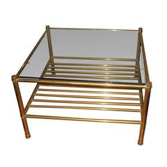 Pr. of  Mid-Century  Italian Brass Two Tier  Side Tables