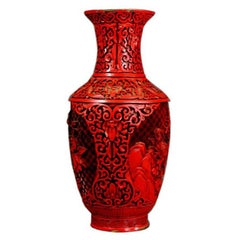 Red Lacquer Carved Vase