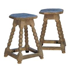 Pair of 17th century Rustic Walnut Stools