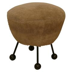 Rare French Stool Attributed to Jean Royere