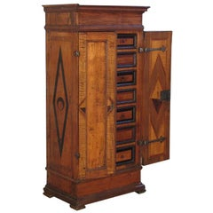18th Century Alpine Baroque  Inlaid Small Cabinet Fitted with Drawers