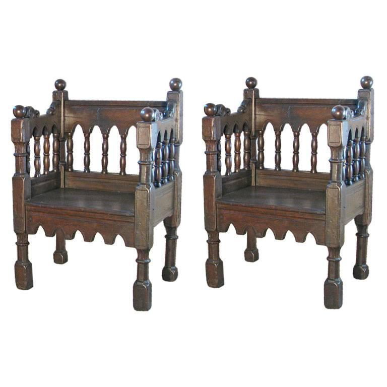 Wonderful Pair Of 19th Century Italian Gothic Style Chairs For Sale
