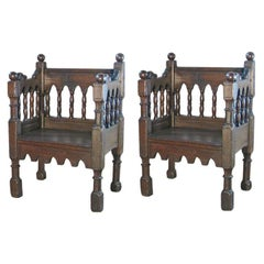 Pair of 19th century Italian Gothic Style Oak Chairs