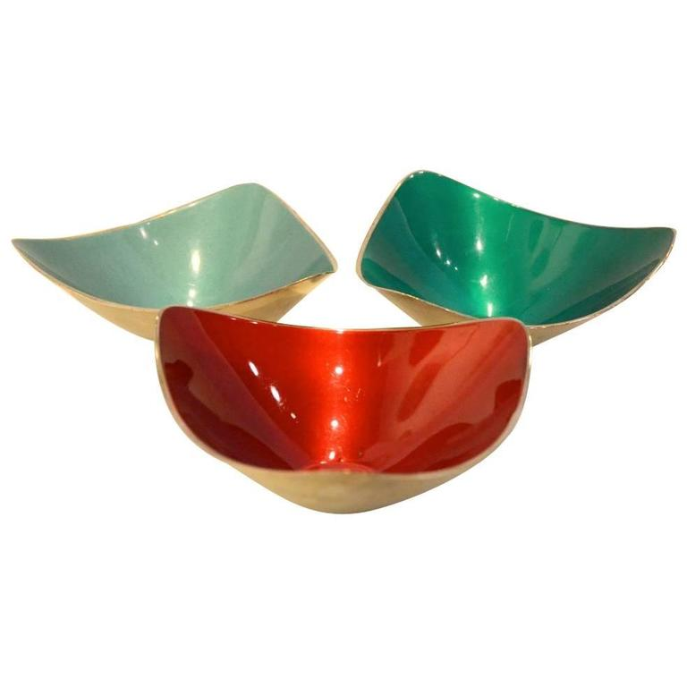 Set Of Three Enamel And Silver Plate Decorative Bowls At