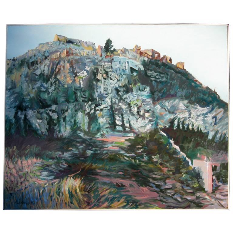 Oil Painting of Greek Hills by Harriet Livathinos