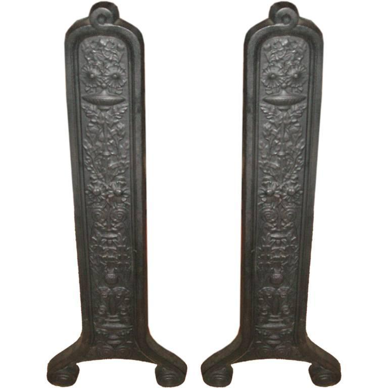 "26"" Pair of 19th Century Eastlake Andirons by Smith & Anthony For Sale"