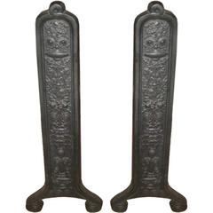 "26"" Pair of 19th Century Eastlake Andirons by Smith & Anthony"