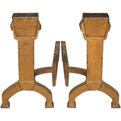 Pair of Hammered Iron Andirons by Bradley & Hubbard