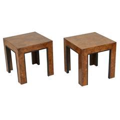 Pair of Parsons Style Ash Burl Chop Tables