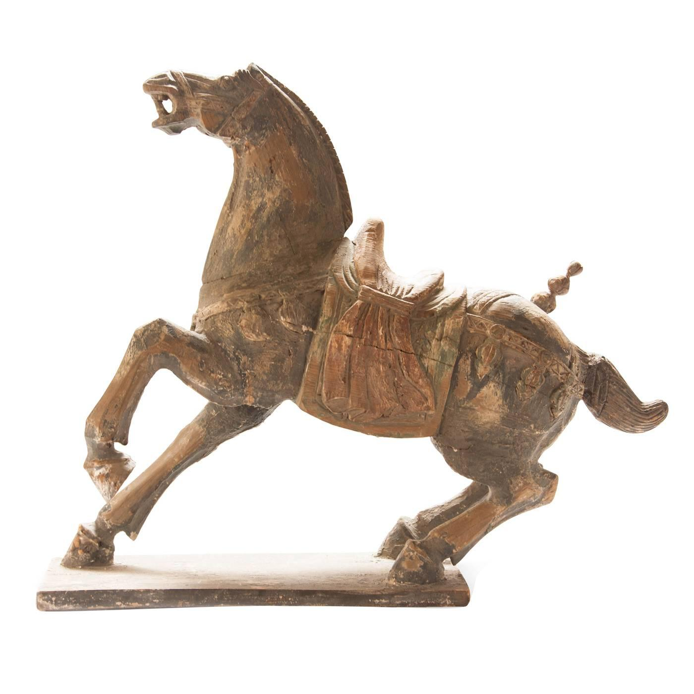Large Polychrome Carved Wood Tang Horse