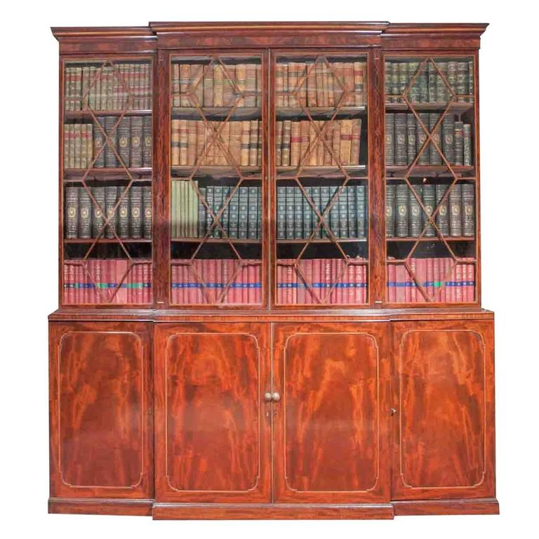 Early 19th Century Georgian Breakfront Bookcase, Stamped Gillows of Lancaster