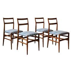 Four Gio Ponti Leggera Dining Chairs in Ashwood and Upholstery
