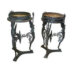 Exceptional Large Near Pair of Grand Tour Bronze Brazziers/Stands, Italy, 1860