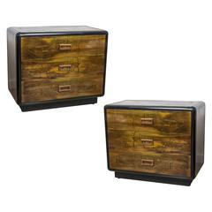 Pair of Two-Drawer Bedside Chest by Bernard Rhone for Mastercraft