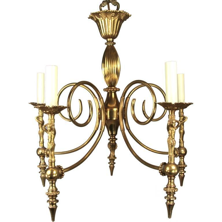 Figural five light chandelier circa 1920s for sale at 1stdibs - Circa lighting chandeliers ...