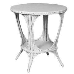 American White Painted Wicker Oval End Table by Heywood-Wakefield