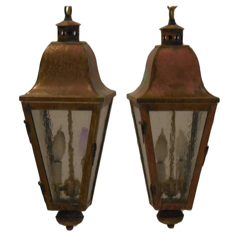 Pair Of Vintage Brass Hanging Lanterns At 1stdibs