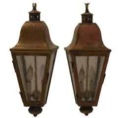 Pair of Vintage Brass Hanging Lanterns