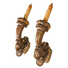 Pair Of 19th Century French Louis XVI Style Gilt Wood Torch Sconces