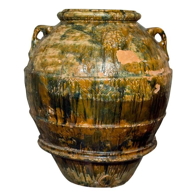 Rare and Very Large Glazed Terracotta Amphora from Imprunetta, Italy For Sale