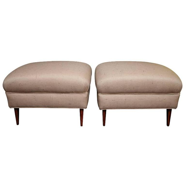 Pair of Midcentury Ottomans, Recovered in Silk Shantung Fabric For Sale