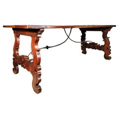 18th Century Italian Walnut And Iron Trestle Table
