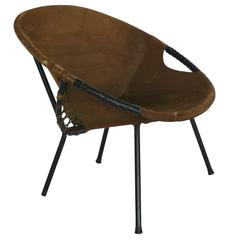 Austrian Iron and Suede Scoop Chair