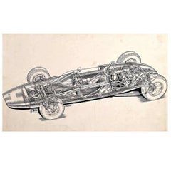 "Original ""Cutaway"" Drawing of the Lotus 20 Racing Car by Brian Hatton"