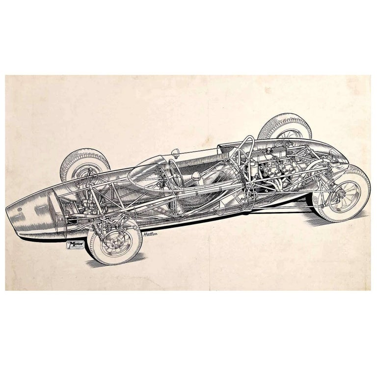 """Original """"Cutaway"""" Drawing of the Lotus 20 Racing Car by Brian Hatton For Sale"""