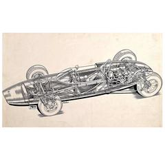 "Original ""Cutaway"" Drawing of the Lotus 20 Racing Car by Brian Hatton"