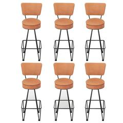 Six Wrought Iron Bar Stools After Frederick Weinberg