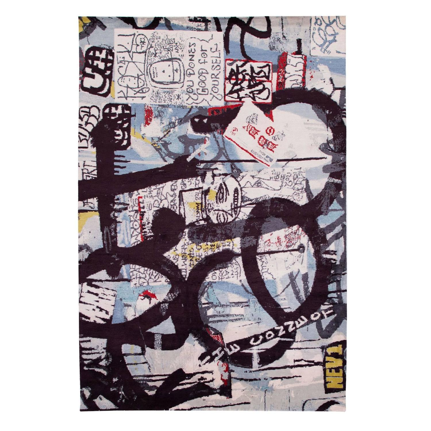 Silk One Of A Kind Mash Up New York City Graffiti Rug For At 1stdibs