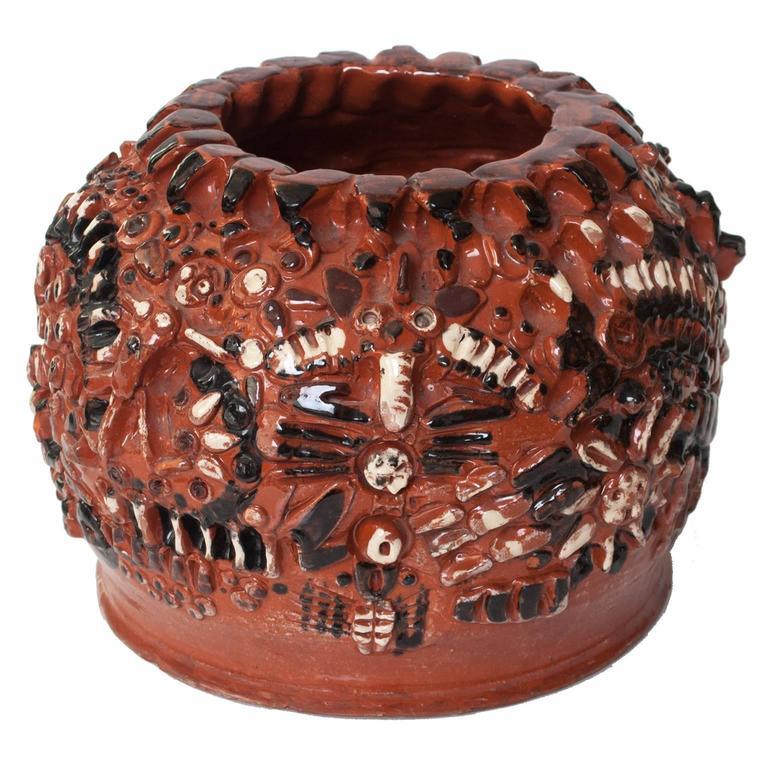 Large Scandinavian modern studio ceramic vase by artist Hertha Hilfon